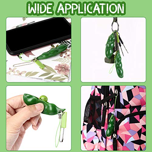 SCIONE Fidget Bean Toys 2 Pieces Squeeze-a-Bean Green Soybean Stress Relieving Keychain Keyring Extrusion Edamame Mobile Pendants
