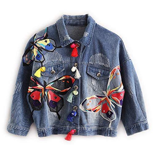 Colorful Butterfly Embroidery Ladies Jean Jackets Patch Designs Womens Denim Coats with Tassel Short Chaquetas Mujer Slim Jacket,Blue,L
