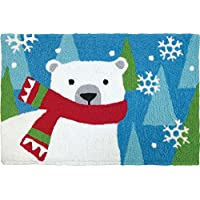 Jellybean Holiday Accent Rug, Polar Bear With Scarf