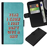 NICE GIFT GOOD PRESENT // New Design Protective Leather Wallet Case Money Holder Card Slots Cover for Sony Xperia Z2 D6502 / Punk Deep Metal Goth Motivational /