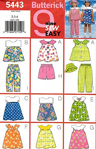 Butterick 5443 ©1998 Girls' Dress, Top, Shorts, Pants, and Hat; Sizes 2-3-4