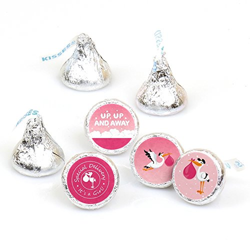 Girl Special Delivery - Pink It's A Girl Stork Baby Shower Round Candy Sticker Favors - Labels Fit Hershey's Kisses (1 Sheet of ()