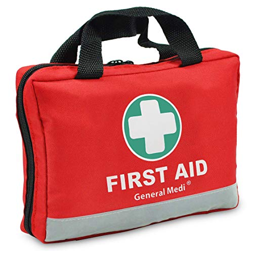 First Aid Kit -309 Pieces- Reflective Bag Design - Including Eyewash, Bandages, Moleskin Pad and Emergency Blanket for Travel, Home, Office, Car, Camping, Workplace