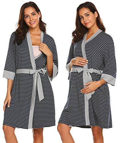 Ekouaer Nurisng Maternity Robe Breastfeeding Dress Labor Nightshirt Sleepwear (Navy Grey Stripe, XX-Large)