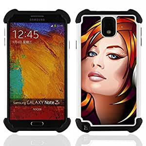 - DJ Girl - - Doble capa caja de la armadura Defender FOR Samsung Galaxy Note3 N9000 N9008V N9009 RetroCandy