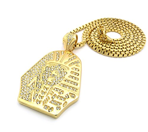 """New Iced Out KING-TUT PHARAOH Pendant 4mm/36"""" Box Chain Hip Hop Necklace XP850BXG"""