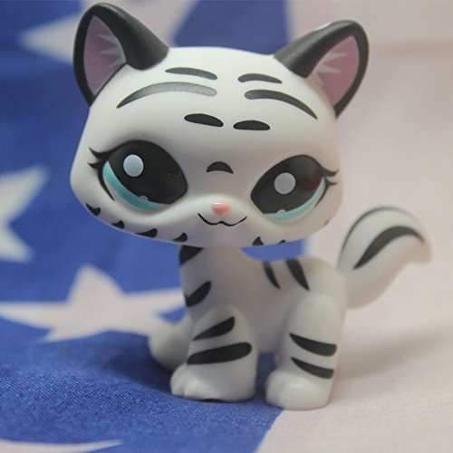 Tiger Kitty (Littlest Pet Shop Tiger White cat kitty Striped With Aqua Blue Eyes)