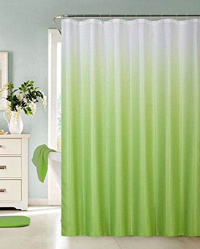 13 Piece Ombre Waffle Fabric Weave Shower Curtain with a Matching 12 Pc Metal Roller Ball Shower Curtain Hooks (Green)