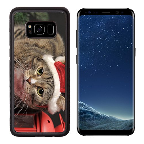 Christmas Candlelight Bulbs - Luxlady Premium Samsung Galaxy S8 Aluminum Backplate Bumper Snap Case IMAGE ID: 23845401 Cat in a Christmas santa hat and a flashlight candle holder