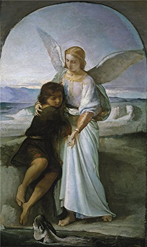Oil painting 'Rosales Gallina Eduardo Tobias and the Angel Ca. 1860 ' printing on Perfect effect canvas , 10 x 17 inch / 25 x 43 cm ,the best dining Room artwork and Home artwork and Gifts is this Amazing Art Decorative Prints on Canvas (Nv Larson)