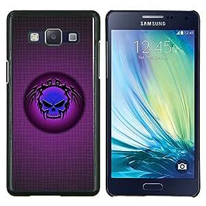KLONGSHOP // Cubierta de piel con cierre a presión Shell trasero duro de goma Protección Caso - Cráneo tribal azul - Samsung Galaxy A5 A5000 //