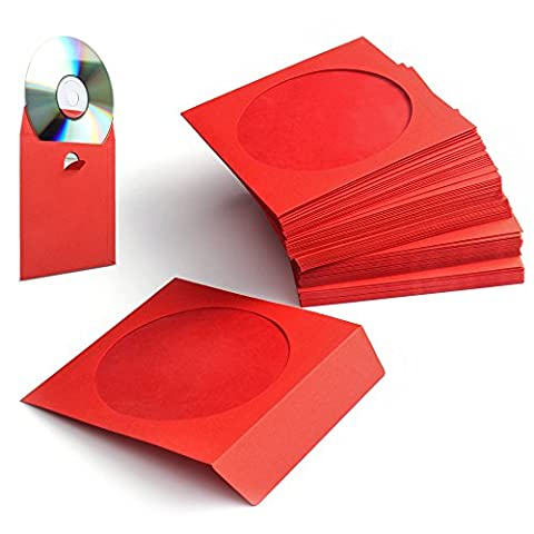 Flexzion 100 Pack CD DVD Thick Paper Sleeves (Red) Standard Envelope Cases Display Storage Premium with Window Cut Out and Flap for Music Movie Video Game - Adhesive Back Cd