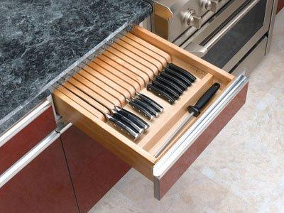 Rev-A-Shelf Wood Knife Organizer for Drawers - Cut-To-Size Insert 4WKB-1