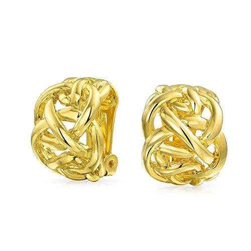 - Open Criss Cross Celtic Knot Work Weave Wide Half Hoop Clip On Earrings For Women Non Pierced Ears 14K Gold Plated Brass
