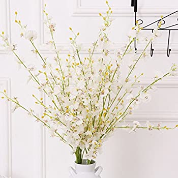 YSBER 10Pcs Oncidium Silk Art Artificial Simulation Flowers For Halloween Christmas Party Hotel Wedding Home Party Decorations Emulation Flower Dancing Flowers(White)