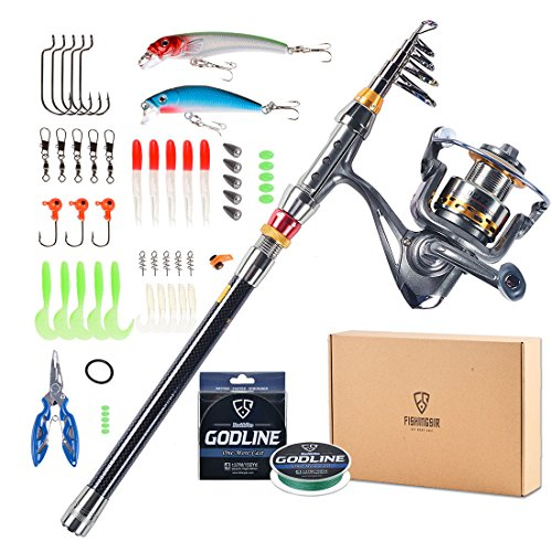 FISHINGSIR Fishing Rod Full Combo Kit - 7+1 Ball Bearing Spinning Reel with Lines Lures Pliers, Saltwater ()