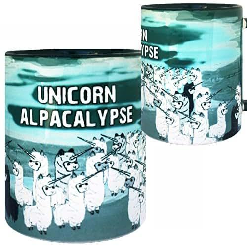 Unicorn Alpacalypse Mug by Pithitude - One Single 11oz. Green Coffee Cup