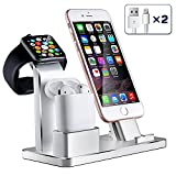iPhone Airpods Apple Watch Charging Stand, Aluminum AirPods Station Apple Watch iPhone Charging Docks Holder for AirPods / Apple Watch Series 3&2 / iPhone X/8/7/6 - ( 4 in 1)