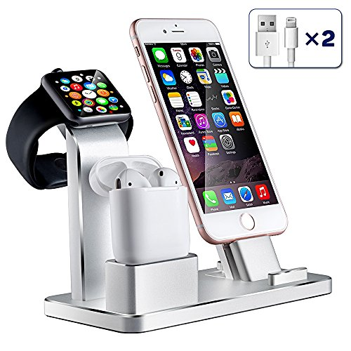Aluminum Watch Stand Charging Dock for iWatch iPhone(Silver) - 9