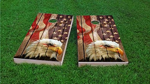 Weathered Woodslatt American Bald Eagle Cornhole Set, 2x4, Wood, Hand Painted, All Weather Bags