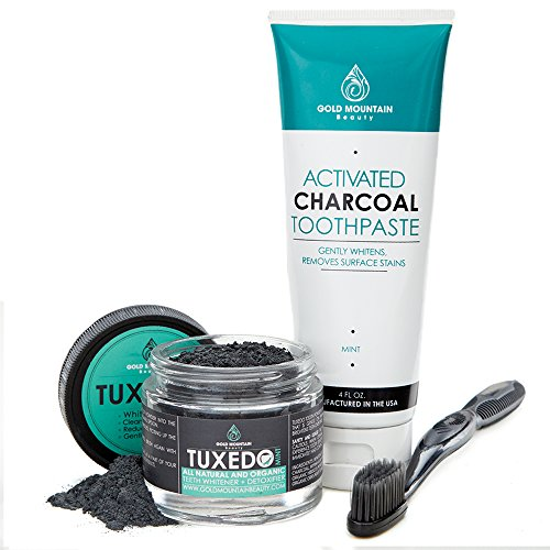 Premium Natural Teeth Whitening KIT Contains Activated Charcoal Tooth Powder, Activated Charcoal Toothpaste, FREE Binchotan Charcoal Infused Toothbrush. Makes Teeth Sparkling White (Mint)