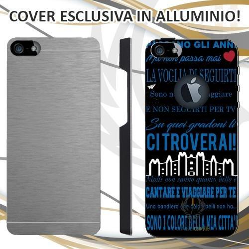 CUSTODIA COVER CASE CORO ULTRAS INTER NERO PER IPHONE 5 5S IN ALLUMINIO
