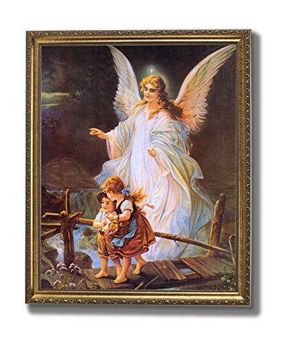 Guardian Angel With Children On Bridge Religious Wall Picture Gold Framed Art Print
