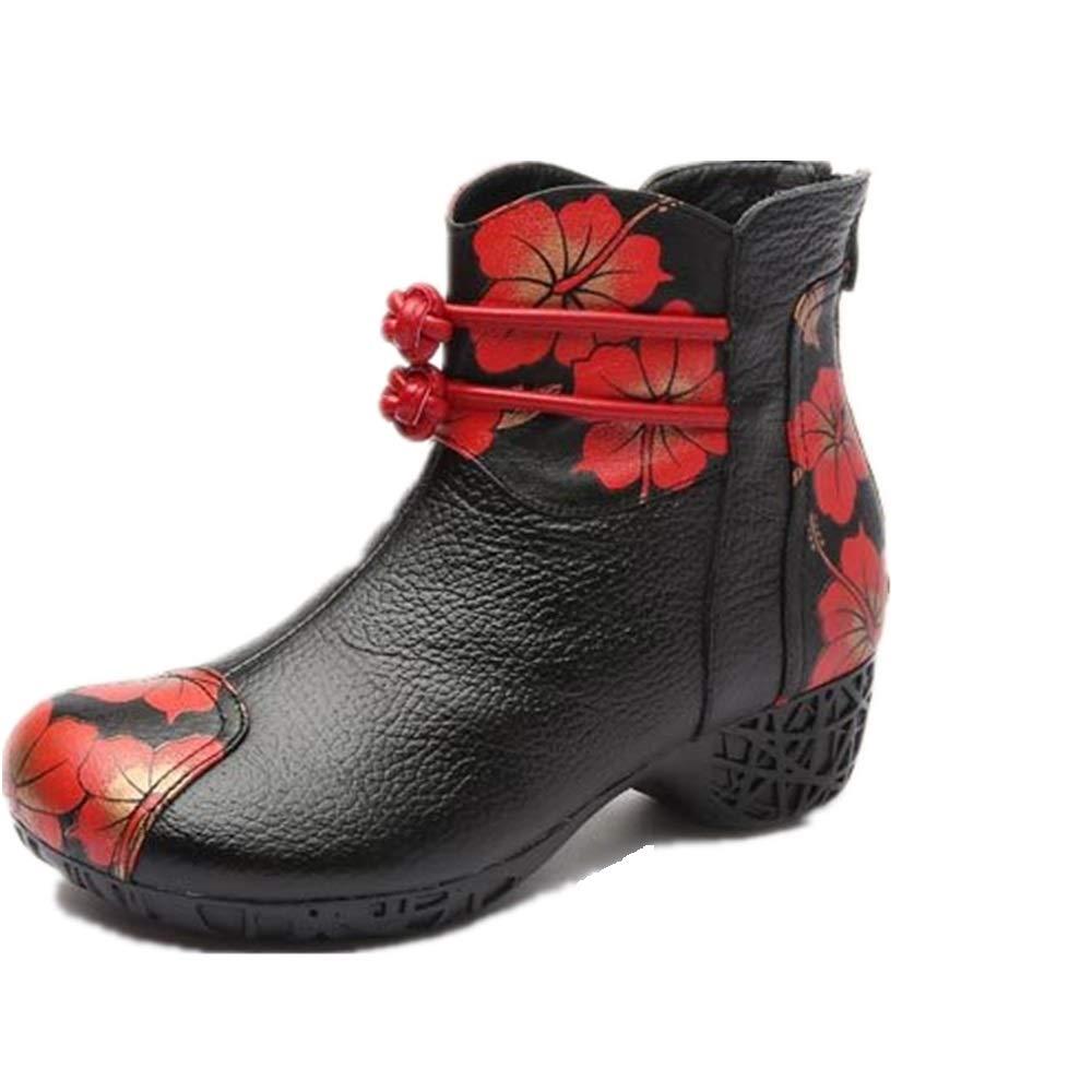 Fuxitoggo Lederstiefel Frauen Blaumendruck Block Zipper Schuhe (Farbe   Schwarz Größe   EU 36)