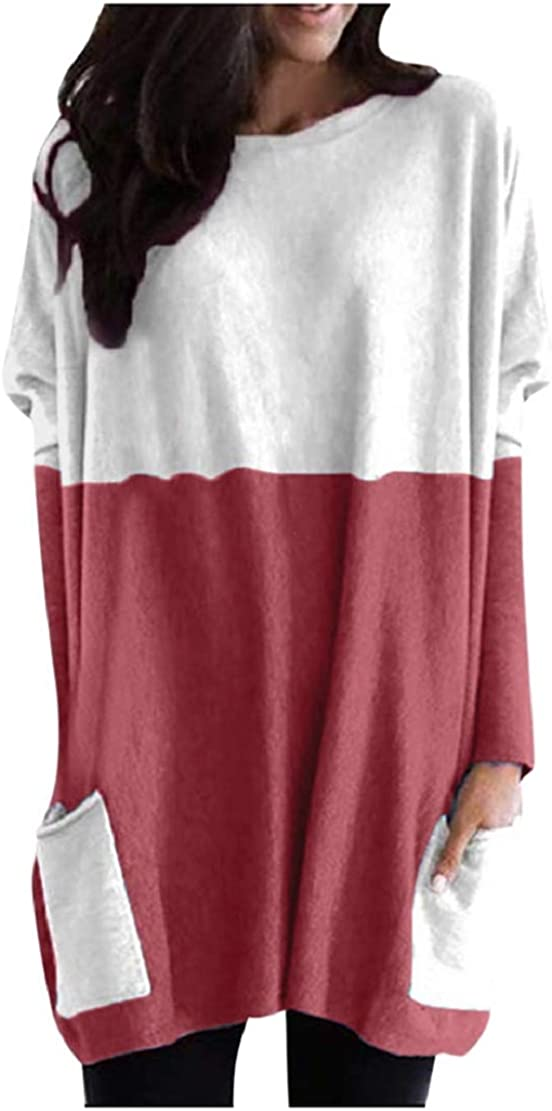 Plus Size Womens Fashion Sweatshirt Long Sleeve Crewneck Loose T-Shirts Pullovers Blouses with Pockets Sopzxclim