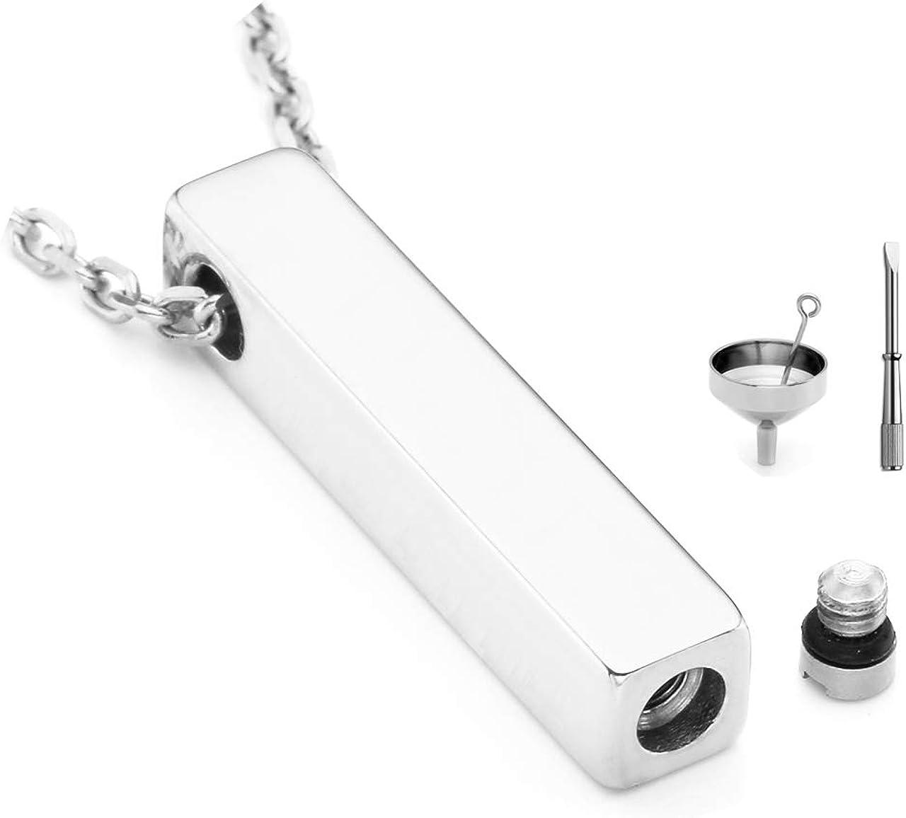 Jovivi Free Engraving - Personalized Custom Stainless Steel Cube Bar Urn Necklace Memorial Ash Keepsake Pendant Cremation Jewelry w/Filler Kit