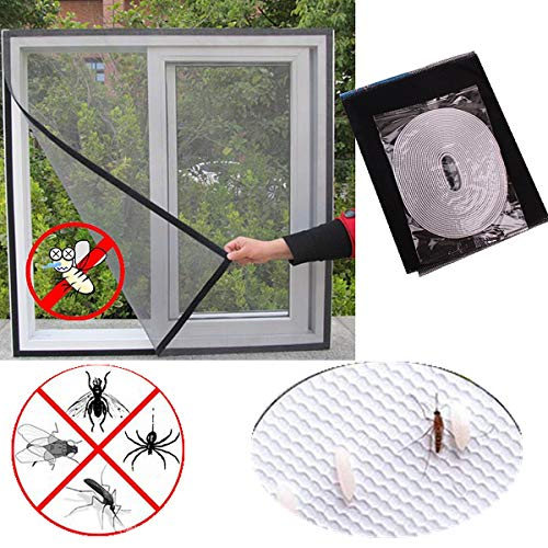 Black DIY Self-Adhesive Window Screen Mesh Net Curtain Invisible Screens Window with Tape Anti Mosquito Bug Easy to Use Take Apart Wash 130cmx150cm