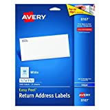 """Office Products : Avery Easy Peel Return Address Labels for Inkjet Printers 1/2"""" x 1-3/4"""", Pack of 2,000 (8167)"""
