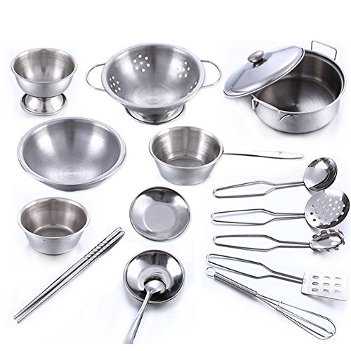 Ywoow 16 Pcs Set Kids Play House Kitchen Toys Cookware Cooking Utensils Pots Pans Gift US Warehouse Sending