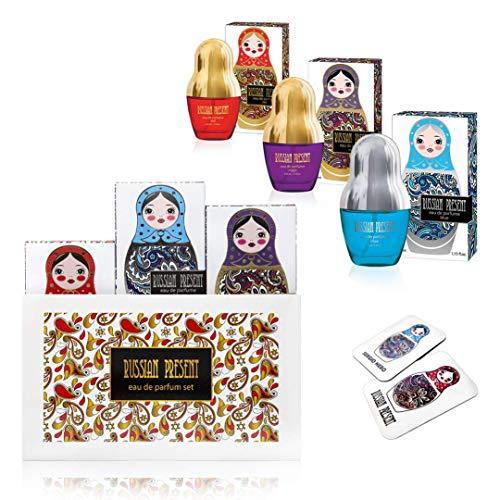 Russian Present Eau De Parfum Gift Set for Women (EDP) - 3 x 1.15 oz, Floral Fruity Scents, Perfume for Women, Best Gift Idea for Her ()