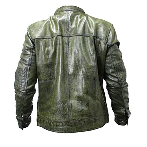 Amazon.com: Perrini New Mens Genuine Sheep Skin Leather Fashion Jacket Green 2 buttoned chest Pocket (XL): Automotive