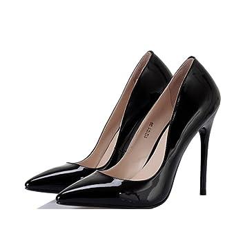 b69538622c4 Zapatos de Mujer - Europa y los Estados Unidos Tacones Ultra Altos Sexy  Boca Baja Zapatos Negros ...