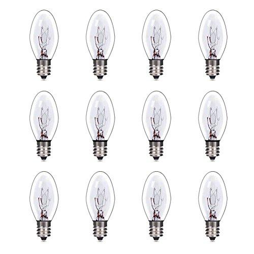 (Syntus 12 Pack 25 Watt Salt Lamp Bulbs Original Replacement Clear Transparent Christmas Replacement Bulbs E12 Socket Candelabra Light Incandescent Bulb)