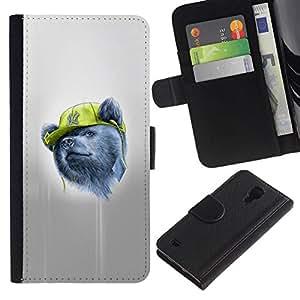 NEECELL GIFT forCITY // Billetera de cuero Caso Cubierta de protección Carcasa / Leather Wallet Case for Samsung Galaxy S4 IV I9500 // Gangsta Oso