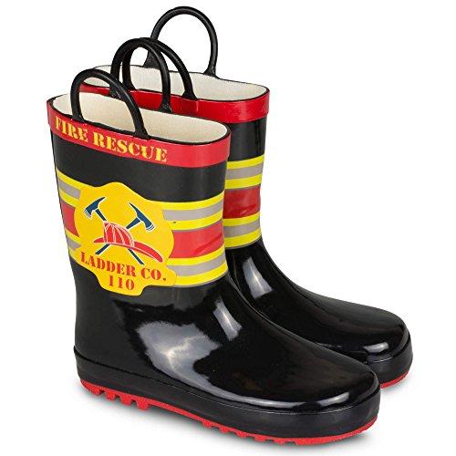 Price comparison product image [SBR017P-BLACKCOMBO-T9] Boys Rain Boots Fireman Print Easy On