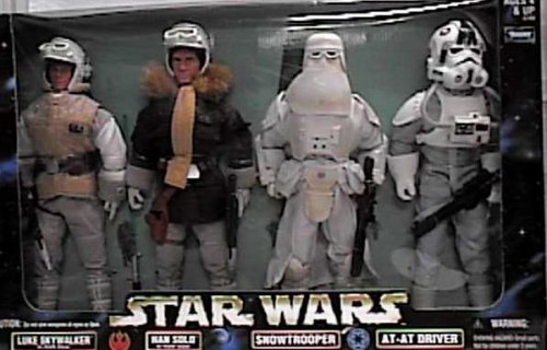 Star Wars Action Collection 12 Luke Skywalker in Hoth Gear, Han Solo in Hoth Gear, Snowtrooper, at-at Driver Figure Set