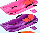 Unichart Snow Sled for Kids/Adult, Outdoor Grass Skiing, Winter Toboggan, Pink
