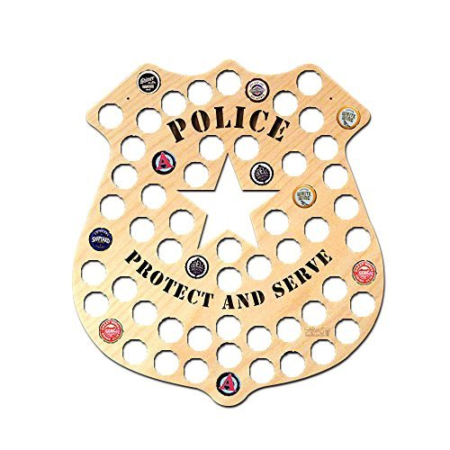 Wall Decor Leiacikl22 Designed Police Badge Beer Cap Map Funny Birthday Gifts for Police 16.93 x 14.96
