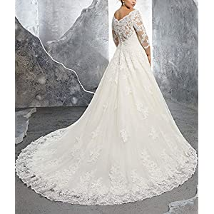Women's Plus Size Bridal Ball Gown Vintage Lace Wedding Dresses for Bride with 3/4 Sleeves