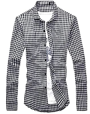 Zimaes Men's Fit Solid-Colored Long-Sleeve Thin Plaid Dress Shirt