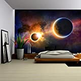 wall26 - Abstract scientific background - glowing planet Earth in space, solar eclipse, nebula and stars - Removable Wall Mural | Self-adhesive Large Wallpaper - 100x144 inches