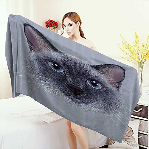 Anhounine Print fancy towels Animal Portrait Image of Thai Siamese Cat with Retro Style Lettering Artwork Customized bath Towels 55''x27.5'' White Sky Blue and Grey by Anhounine