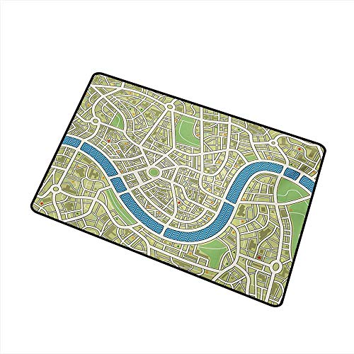Non-Slip Door mat Map Street Map Without Names Metropolis Capital City Downtown Urban W35 xL47 with Anti-Slip Support ()