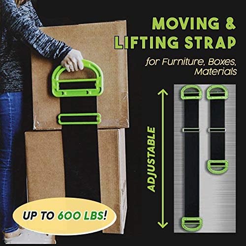 Haluoo Moving and Lifting Strap, The Landle Adjustable Moving and Lifting Carrying Straps for Furniture, Boxes, Mattress, Dresser, Appliances – Single Or Two Person Carrying, Best Garden Tool (Black)