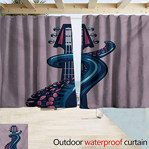 AndyTours Rod Pocket Top Blackout Curtains/Drapes,Octopus Sea Animal with Guitar Riff Musical Instrument Rock and Roll Modern Artwork Print,Outdoor Privacy Porch Curtains,W72x72L Inches,Lilac Blue