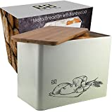 Solander Skelf Metal Bread Box with Cutting Board Lid | Eco Bamboo bread boxes | Large Vertical | Extra Strong High Capacity Space Saver | Retro Breadbox Container Box Kitchen| Great Gift Idea